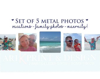 Photo Gift | Photo on Metal | Metal Photo | Set of 5 Photo Print | Picture on Metal | Vacation Photos | family Photos | Wedding Prints