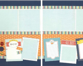 12x12 ONE OF a KIND scrapbook page kit, premade boy scrapbook, 12x12 premade scrapbook page, premade scrapbook page, 12x12 scrapbook layout