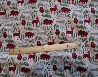 Cream with Red Plaid Woodland/Bear/Deer/Wolf Fabric by the Yard