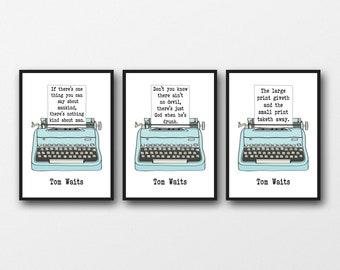 Set of 3 Tom Waits Lyrics  - Unframed Prints