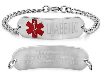 Personalized Stainless Steel Medical ID Bracelet