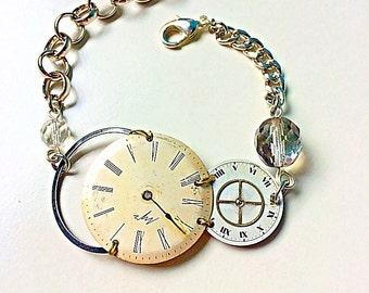 Steampunk bracelet white dials