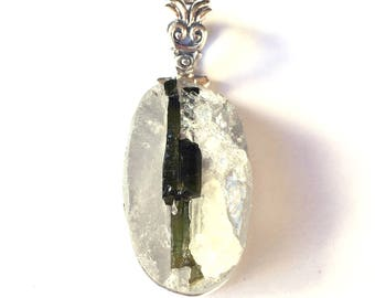 Clear Quartz with Strip of Green Tourmaline Oval Pendant