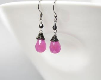 Fuchsia Pink Dangle Earrings Wire Wrapped Watermelon Jade Teardrop Earrings Raspberry Pink and Black