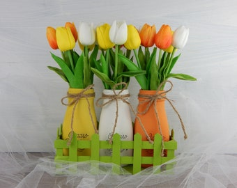 """Painted vases """"spring tulips""""-centerpieces-Home Decor-Easter Centerpieces"""