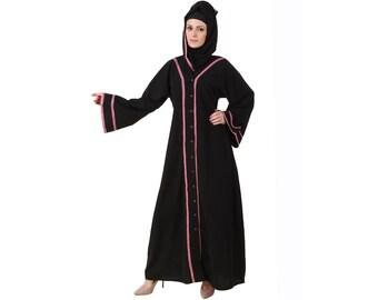 MyBatua Rumaisa Black Nida Dubai Abaya Muslim Traditional Style Long Jilbab Look Islamic Beautiful Maxi Dress Burqa AY-474