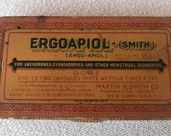 Vintage Tin Medicine Container Ergoapiol-(Smith)