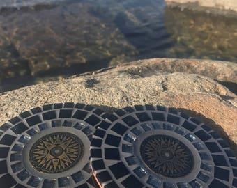 Lost Navigator Mosaic Coasters Bronze Edition// Tile Coasters // Mosaic Art // Handmade Coasters // Home Decor