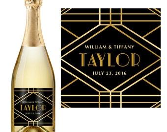 Wedding Champagne Label - Custom Champagne Label - Personalized Champagne Label - Art Deco