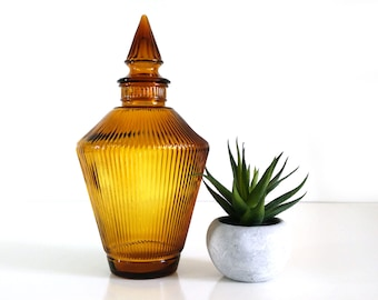 Vintage Wheatonware Ribbed Glass Decanter / Amber Mid Century Glass