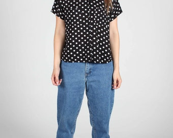 POLKA Dot CROP Shirt Black White 90s 80s Button Up Blouse Dots Spots Top M Medium Womens Short Sleeve Vintage Festival Preppy Summer Minimal