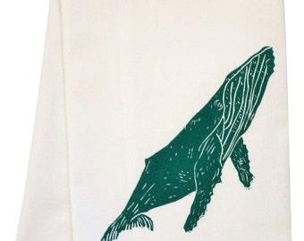 ORGANIC whale block print tea towel