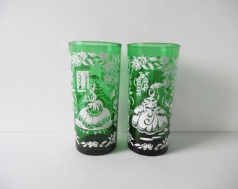 Vintage green victorian glasses Set of 2 Vintage barware Vintage Tumblers Green art deco glasses Vintage victorian lady glasses silhouette