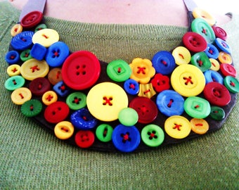 Red, blue, yellow, green button bib necklace, handmade