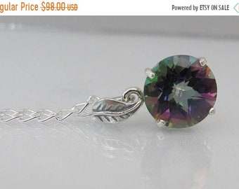 Mystic Topaz Pendant in Sterling Silver, Rainbow Topaz Necklace, Mothers Day Gift, 10mm Round, Topaz Jewelry, Simple Gemstone Necklace