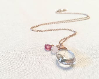 Rose Gold Gemstone Pendant Necklace - 14k Pink Gold and Sterling Silver Necklace Wire Wrapped Rutile Quartz, Pink Tourmaline, Rose Quartz