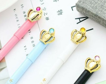 12 Pack Gel Ink Crown Pens Lovely Cute Colorful Polka Dots Korean Style  Rollerball Roller Ball