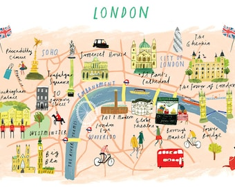 Illustrated A4 map of London, UK