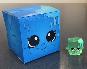 Blue Cool Cube Candy Favor Box - Shopkins Season 1 Birthday Party