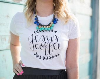 Jesus and Coffee Shirt // White hand lettered shirt // Fashion shirt // Gift