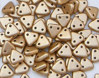 CzechMate Triangle, Matte Metallic Flax, 2 Hole Bead, (K0171), 50 count