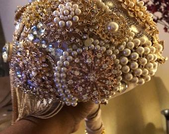 50 shades of gold wedding Bouquet Oklahoma City
