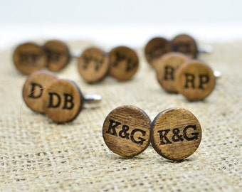 Personalized Wood Cufflinks Monogrammed Custom Engraved Wooden Cuff Links Rustic Groomsmen Bridal Party Gift for Guys Groom Proposal Gift