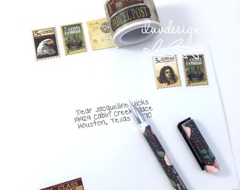 Rustic Postage Stamp Washi Tape • First Class Mail • Vintage Postcard • Happy Mail (182819)