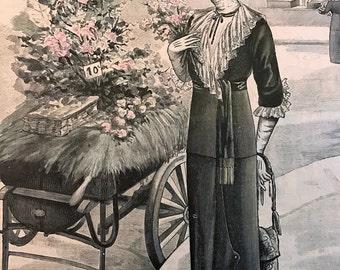 Vintage 1900's French Fashion Magazine Newspaper  Le Petit Echo de la Mode April 28 1912 Lady at Flower Cart