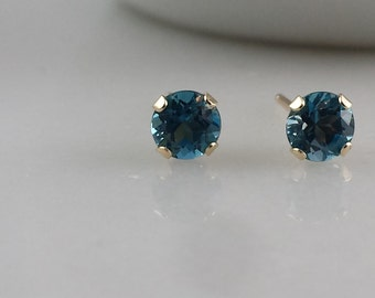 14k Gold London Blue Topaz Gemstone Stud Earrings - 4mm London Blue Topaz Studs