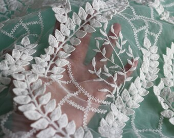 3D Lace fabric in white ,little leaves embroidery Lace for Girls, Women, Clothings / DRESS Lace supply ,solubility lace fabric