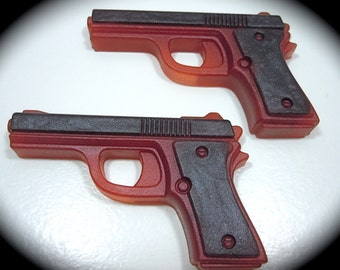 2 Pistol Soaps LAVENDER ESSNTL OIL Scent - Ruby Red/Black - Vegan guest bath decorative gun rifle shoot bullet woman