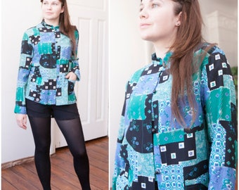 90s Rayon Shirt Womens Small Patchwork Blouse Medium Multi Pattern Rayon Shirt Black Blue Green Floral Blouse Abstract Long Sleeve Top S M