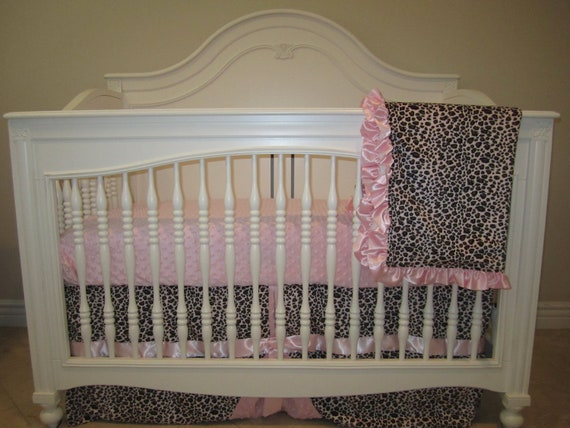 Items Similar To Pink Leopard Baby Bedding Set 3 Piece