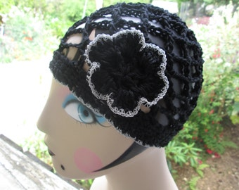 Girl's Black Formal Hat with Silver edge by SuzannesStitches, Teen Black and Silver Formal Hat, Toddler Black Formal Hat, Girl's Cloche Hat