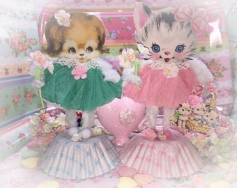 Kitty Figure Figurine Cat Kitten Bump Chenille Pipe Cleaner Paperdoll Paper Doll Shabby Chic Vintage Style Nursery Decor Decorations Gift