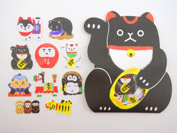 Japanese sticker flakes maneki neko stickers lucky cat daruma doll inu hariko monkey stickers japan fukusuke asian black bear from