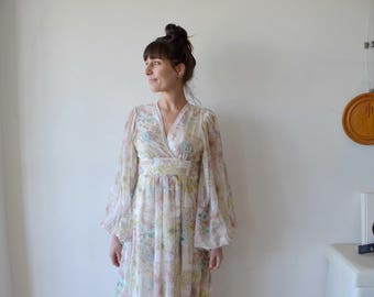 Vintage clothing - vintage dress floral print sheer gauze maxi dress 70's - HUGE SLEEVES- wedding dress?
