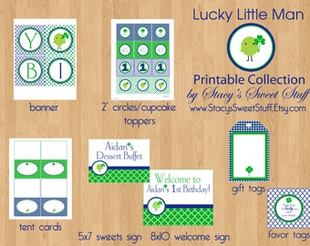 St. Patricks Day Birthday, Boy's Birthday Printables, St. Patrick's Day Printable Birthday Party Package, Lucky Little Man, DIY, Printable