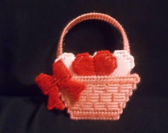 Plastic Canvas Basket of Hearts Magnet