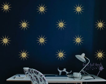 Star wall decal, star wall stickers, retro starburst design, nursery wall decals, starburst decals, vinyl stars, decals for home, ceiling