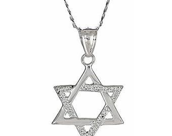 Small .925 Sterling Silver Magen David Jewish Star of David Pendant w. Chain