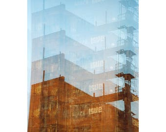 factory trails: pittsburgh art surreal photography architecture fine art photograph multiple exposure photo urban industrial decor abandoned