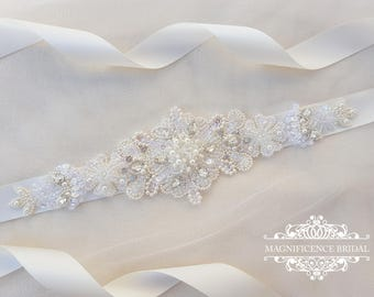 Bridal belt, beaded bridal belt, pearl bridal belt, bridal sash, pearl belt, wedding sash, bridal belts and sashes, ivory sash, LESLIE