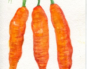 Carrots watercolor painting original, Vegetable, kitchen, dining, food art,  4 x 6 Farmhouse decor