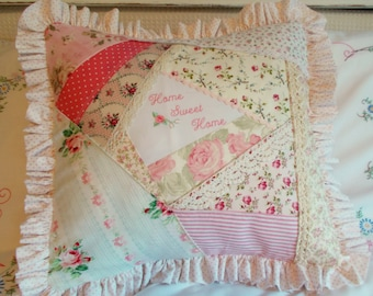 Sweet Pink Roses Embroidery Home Sweet Home Shabby Chic Cottage Farmhouse Pillow Cover