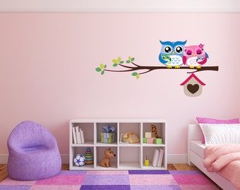 Owl Wall Decal Cute Owls on a Branch v2 Full Colour Nursery Baby Room Wall Sticker