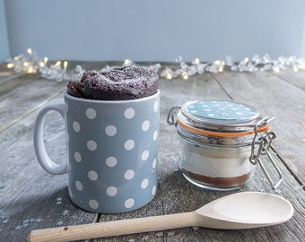 Stylish cake gift, Christmas mug cake treat, Chocolate cake lover, ladys Christmas mug, spotty dotty mug, Mum at Xmas, Sister at Xmas,