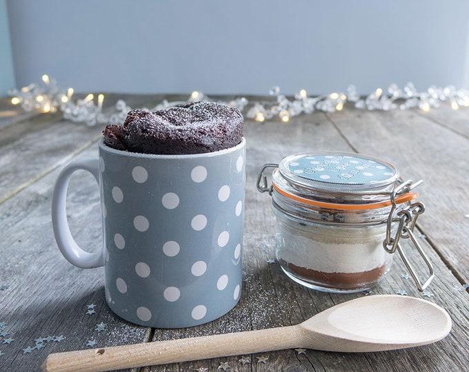 Stylish cake gift, Christmas mug cake treat, Chocolate cake lover, ladys Christmas mug, spotty dotty mug, Mum at Xmas, Sister at Xmas,