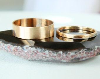 Wedding Band Set Ring, Bridal Set Rings, Anniversary Ring, Mens Rings, Unisex Band Ring, Gold Wedding Ring, 14K Gold Band Ring